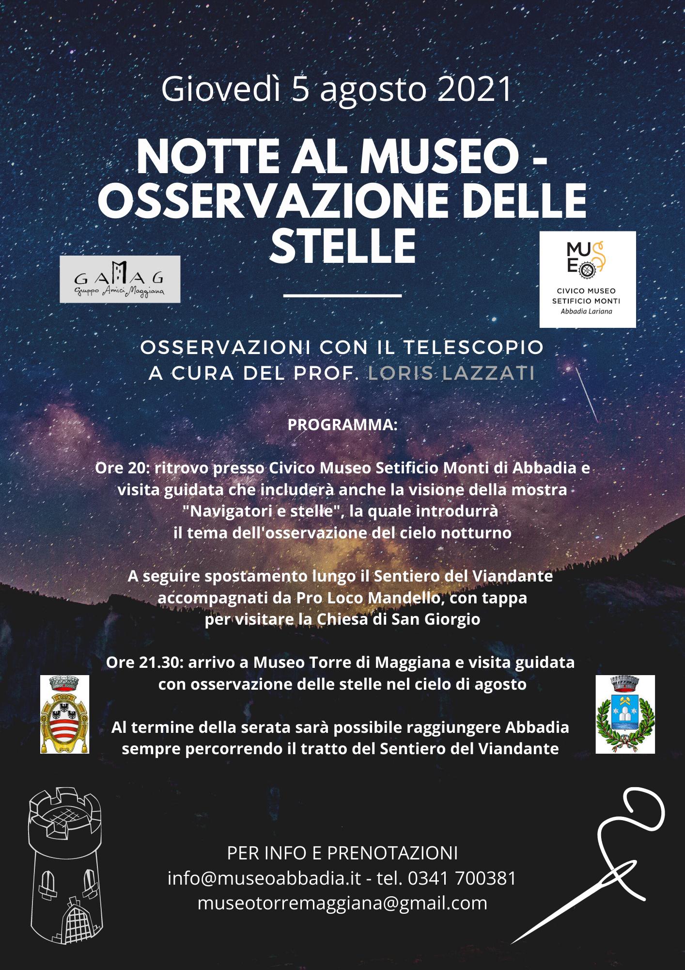 Locandina evento 5 agosto 2021